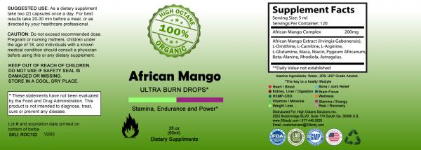 African Mango Ultra Burn Drops Label